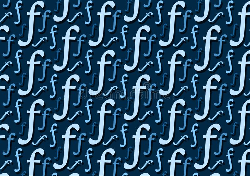 Letter F pattern in different color blue shades for wallpaper. Or with design layouts stock illustration
