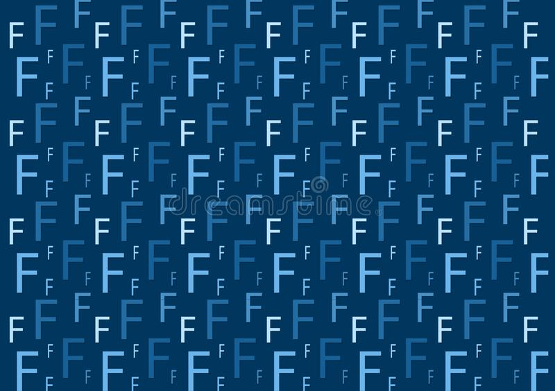 Letter F pattern in different colored blue shades for wallpaper. Design background stock illustration