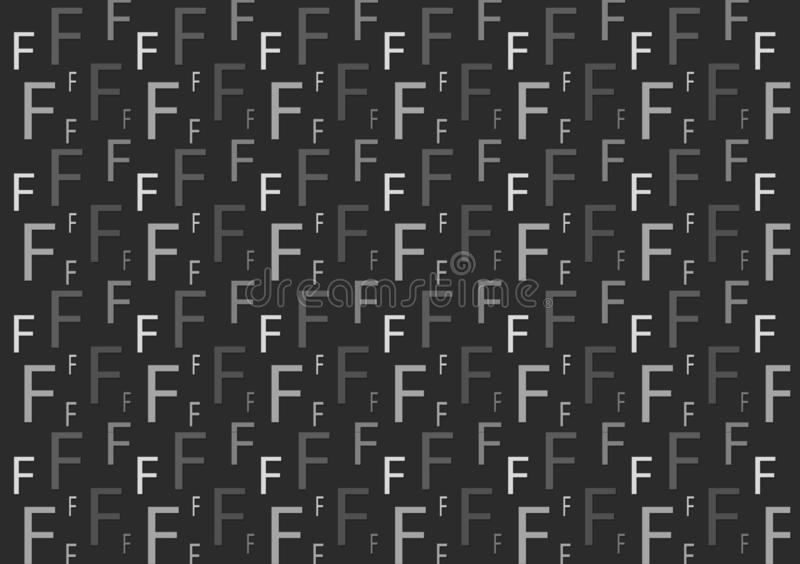Letter F pattern in different colored grey shades for wallpaper. Design background stock illustration