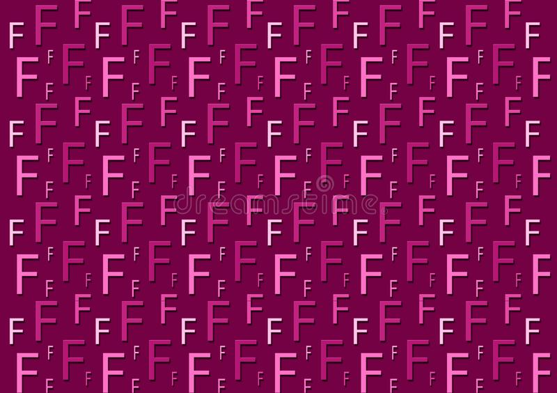 Letter F pattern in different colored purple shades for wallpaper. Design background stock images