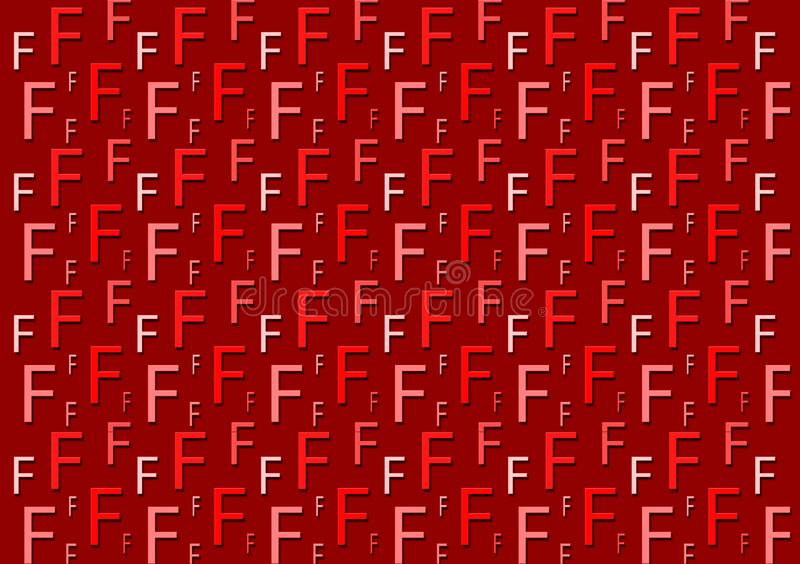 Letter F pattern in different colored red shades for wallpaper. Design background royalty free illustration