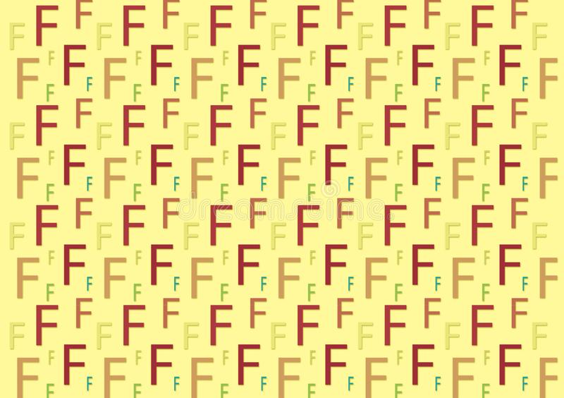 Letter F pattern in different colored shades for wallpaper stock photo