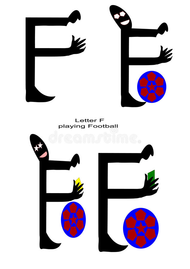Letter f playing football with white background stock image
