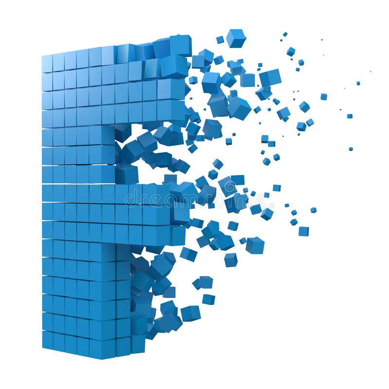 Letter F shaped data block. version with blue cubes. 3d pixel style vector illustration. Suitable for blockchain, technology, computer and abstract themes royalty free illustration