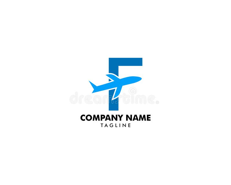 Letter F travel logo icon with Airplane. Letter F Airplane logo vector illustration