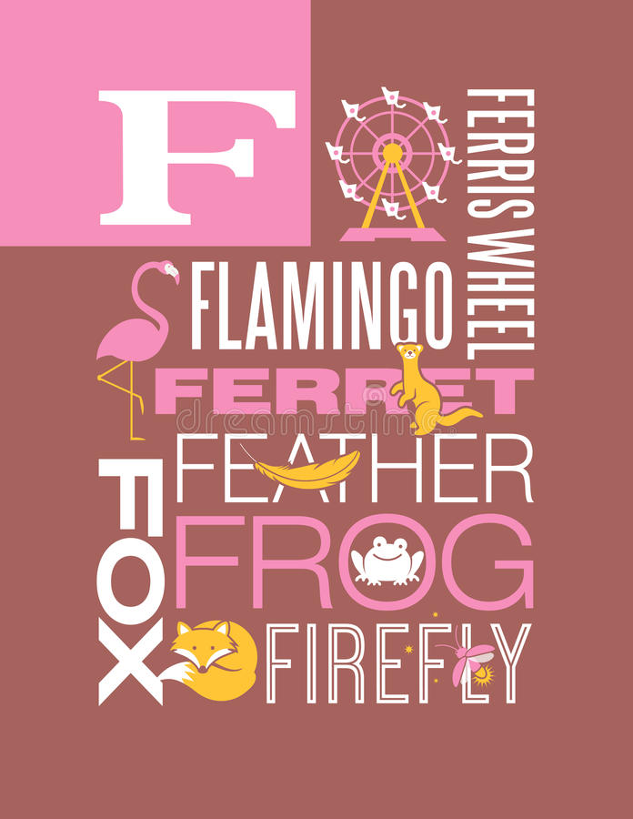 Download Letter F Words Typography Illustration Alphabet Poster Design Stock Vector