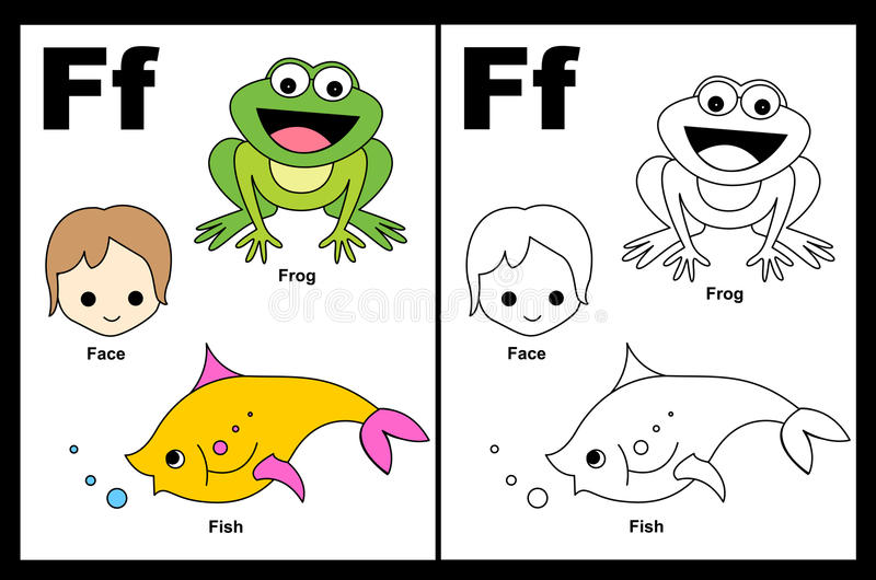 Download Letter F worksheet stock vector. Image of cute, child - 24255056
