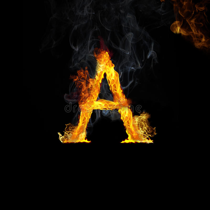 A Letter in Flames. A letter of the alphabet in realistic golden flames stock photo