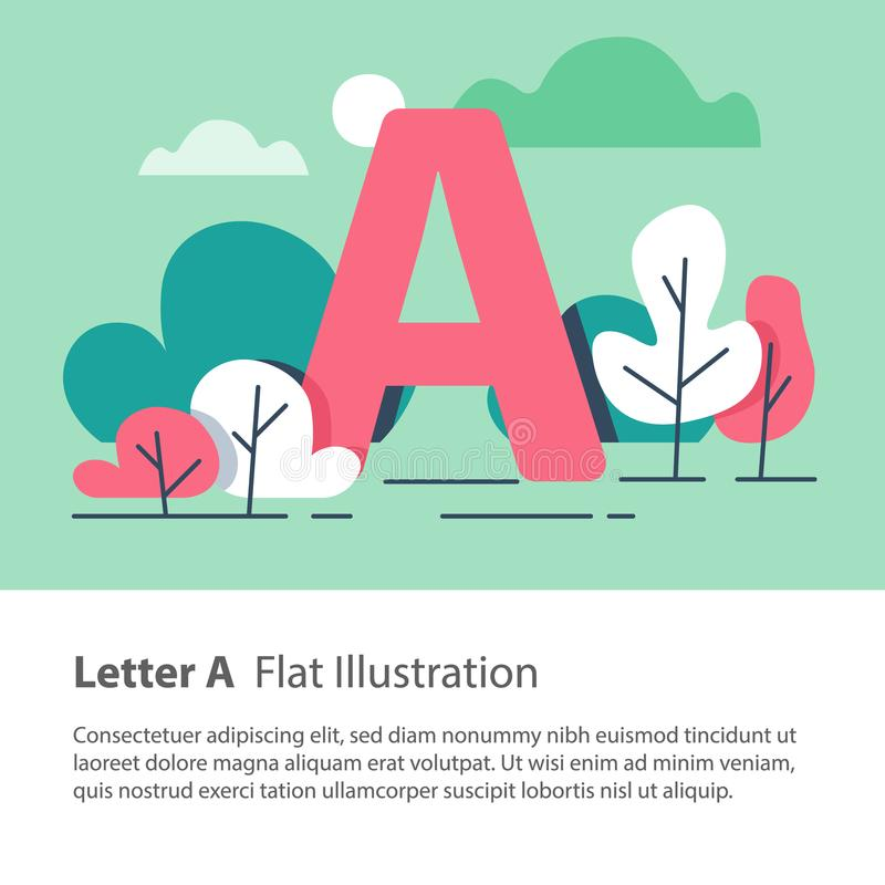 Decorative alphabet, letter A in floral background, park trees, simple font, education concept. Letter A in floral background, park trees, decorative alphabet stock illustration