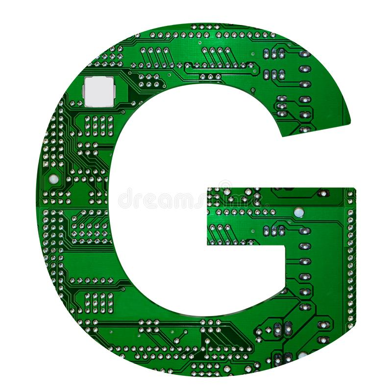 Letter G, Alphabet in circuit board style. Digital hi-tech letter isolated on white. 3d illustration.  royalty free illustration