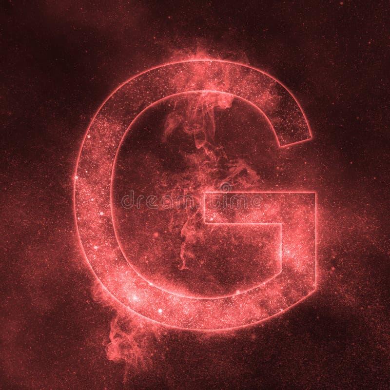Letter G alphabet symbol. Space Letter, Night Sky Letter. Space letters royalty free illustration