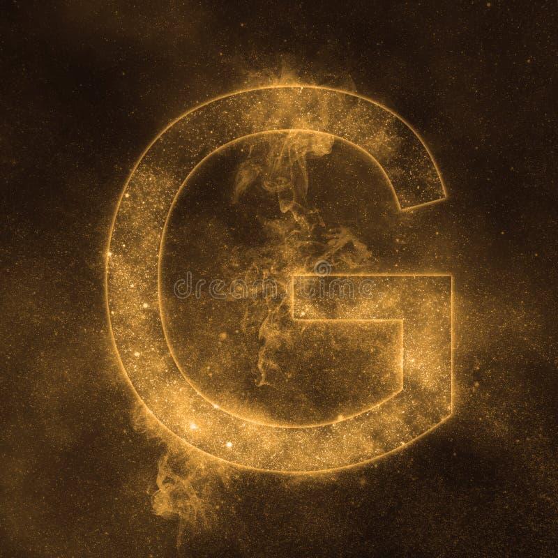 Letter G alphabet symbol. Space Letter, Night Sky Letter. Space letters stock illustration