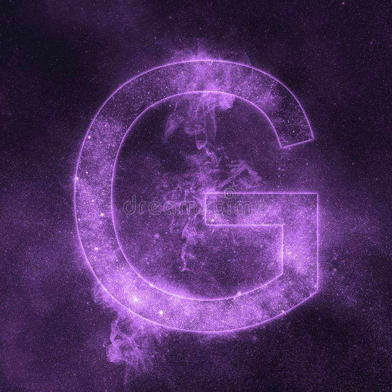 Letter G alphabet symbol. Space Letter, Night Sky Letter. vector illustration