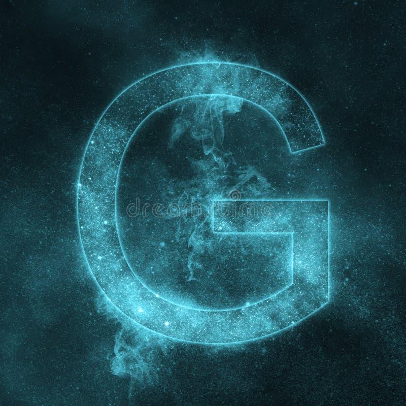 Letter G alphabet symbol. Space Letter, Night Sky Letter. Space letters vector illustration