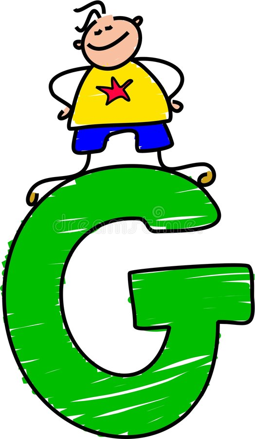 Letter G boy vector illustration
