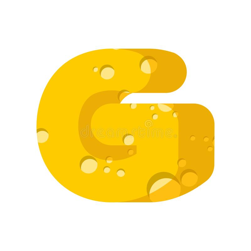 Letter G Cheese Font Symbol Of Cheesy Alphabet Dairy Food Type