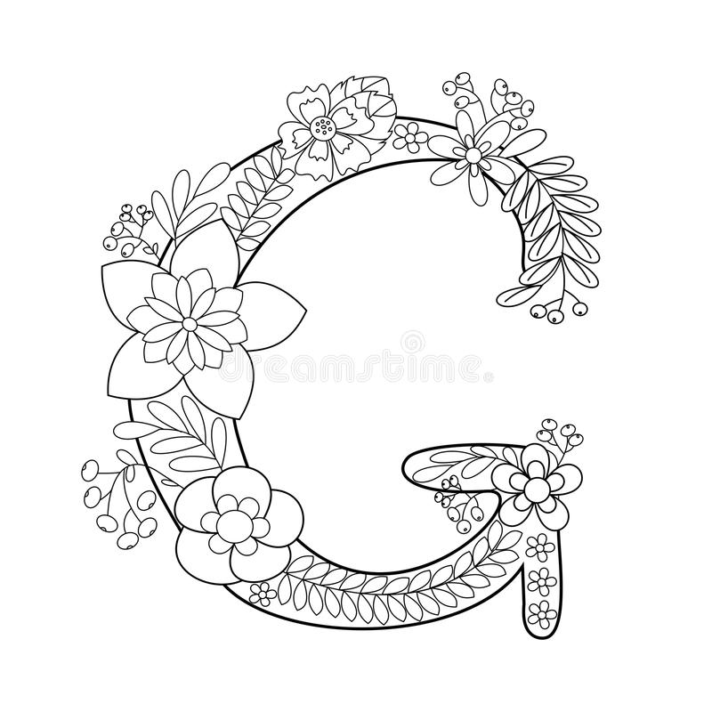 Download Letter G Coloring Book For Adults Vector Stock