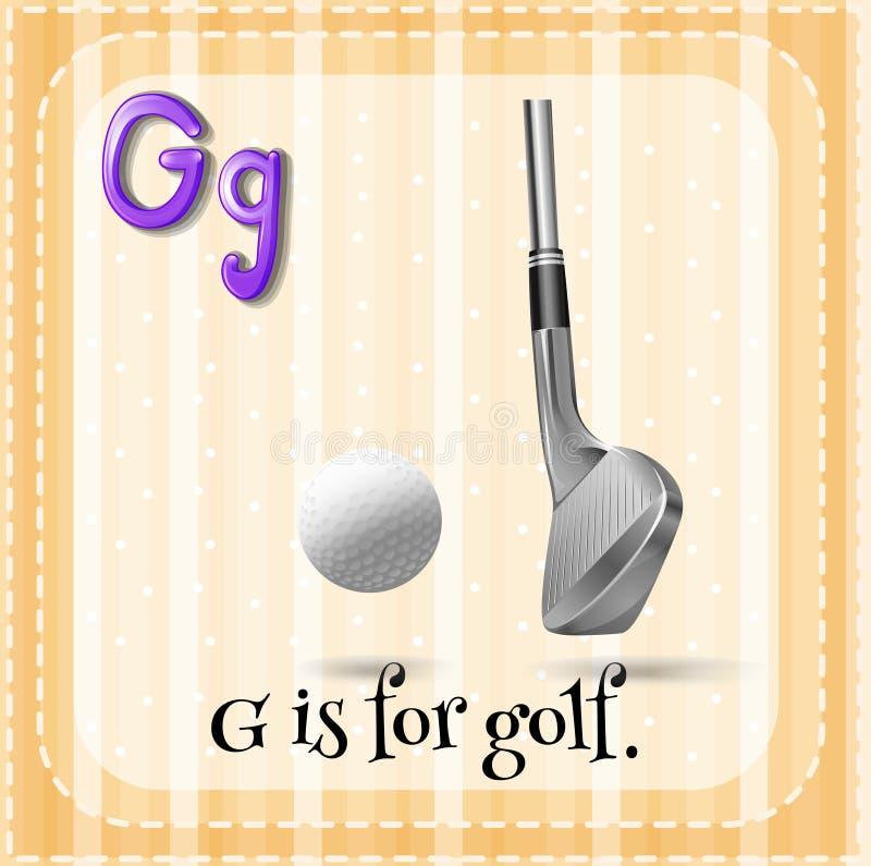 Letter G. Flashcard letter G is for golf vector illustration