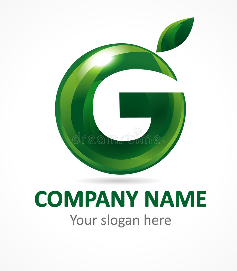 Letter G green apple abstract brandname sign. Branding vector logo letter G design. Eco green beauty saloon, spa lab, gardening, environmental protection royalty free illustration