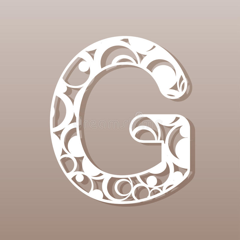 Letter G For Laser Cutting English Alphabet Stock Vector