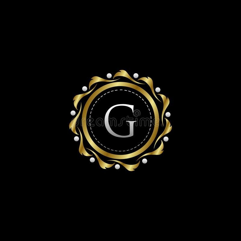Letter G Luxury Boutique Circle Badge Template Logo. Vector, suitable with classy and vintage theme stock illustration