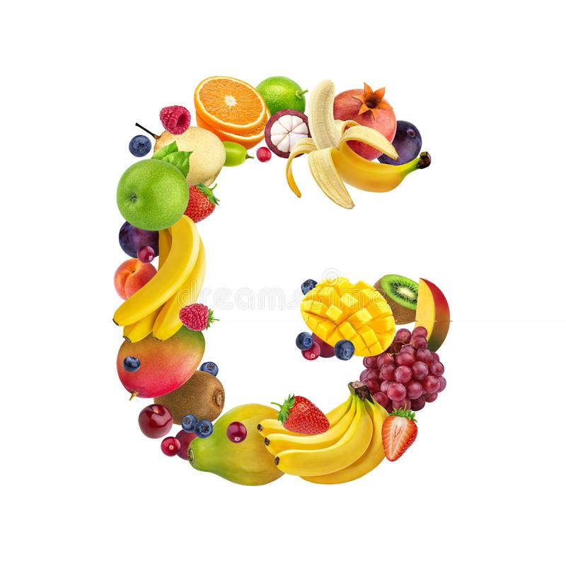 Letter G made of different fruits and berries, fruit alphabet isolated on white background. With clipping path royalty free illustration