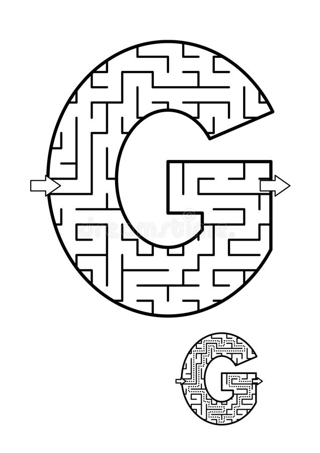 Free Letter G Maze Game For Kids Royalty Free Stock Images - 105161029