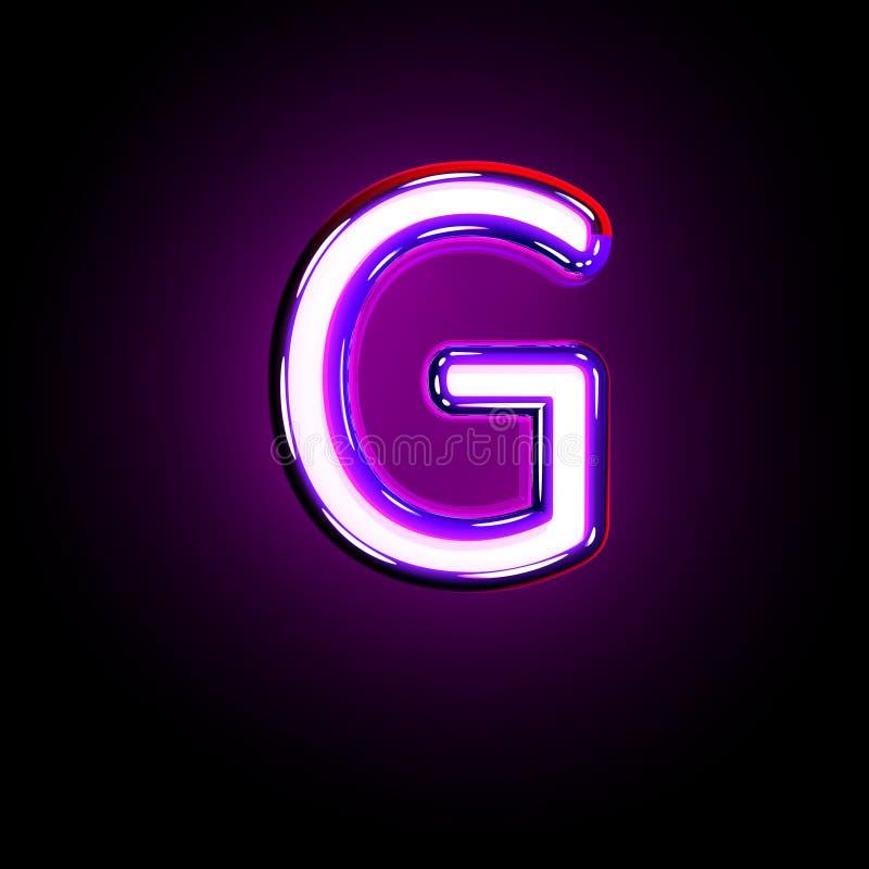 Letter G of neon purple shining font isolated on black - 3D illustration of symbols. Purple shining neon alphabet - letter G isolated on black background, 3D vector illustration