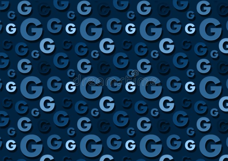 Letter G pattern in different color blue shades pattern. For wallpaper royalty free stock photos