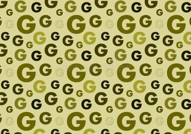 Letter G pattern in different color green shades pattern. For wallpaper royalty free stock images