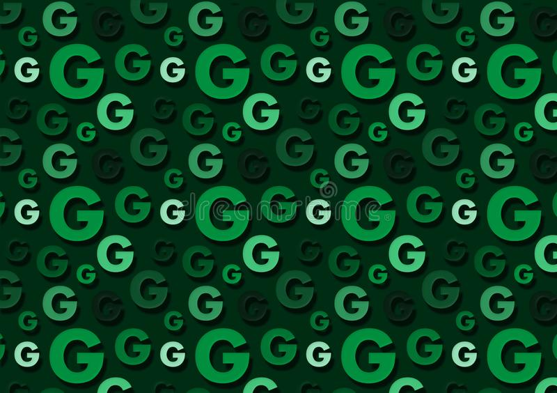 Letter G pattern in different color green shades pattern. For wallpaper stock photography
