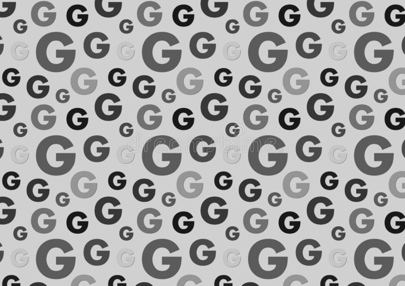 Letter G pattern in different color grey shades pattern. For wallpaper royalty free illustration