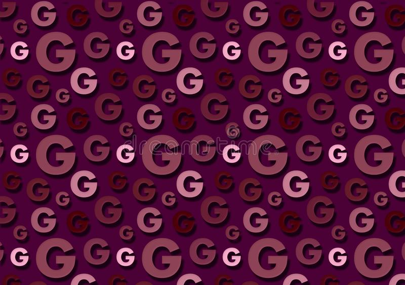 Letter G pattern in different color shades pattern. For wallpaper royalty free illustration