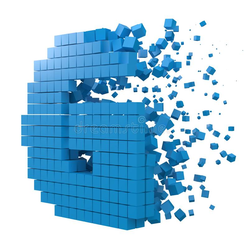 Letter G shaped data block. version with blue cubes. 3d pixel style vector illustration. Suitable for blockchain, technology, computer and abstract themes stock illustration