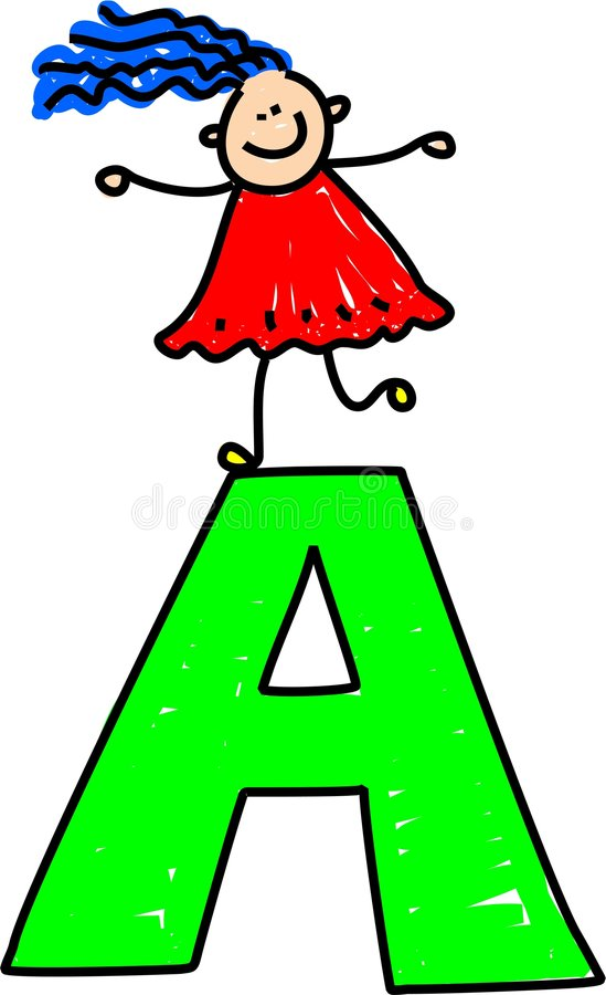 Letter A girl. Happy little girl standing on letter A - toddler art series