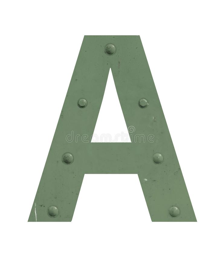 A letter in green metal stock photography