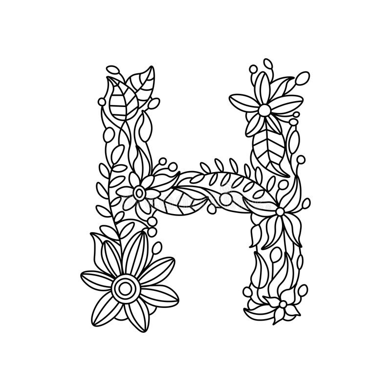 letter h coloring book for adults vector stock vector