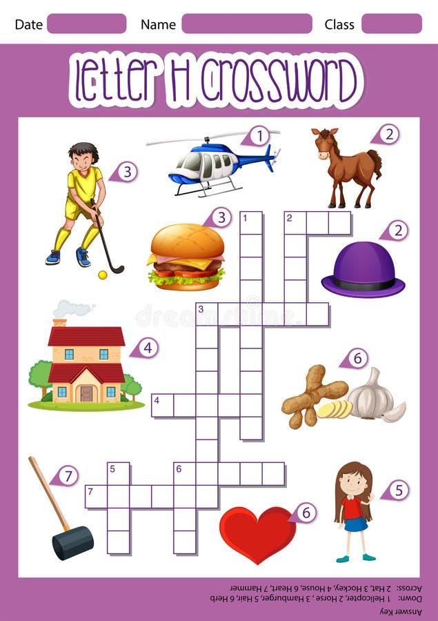 Letter H crossword template stock illustration