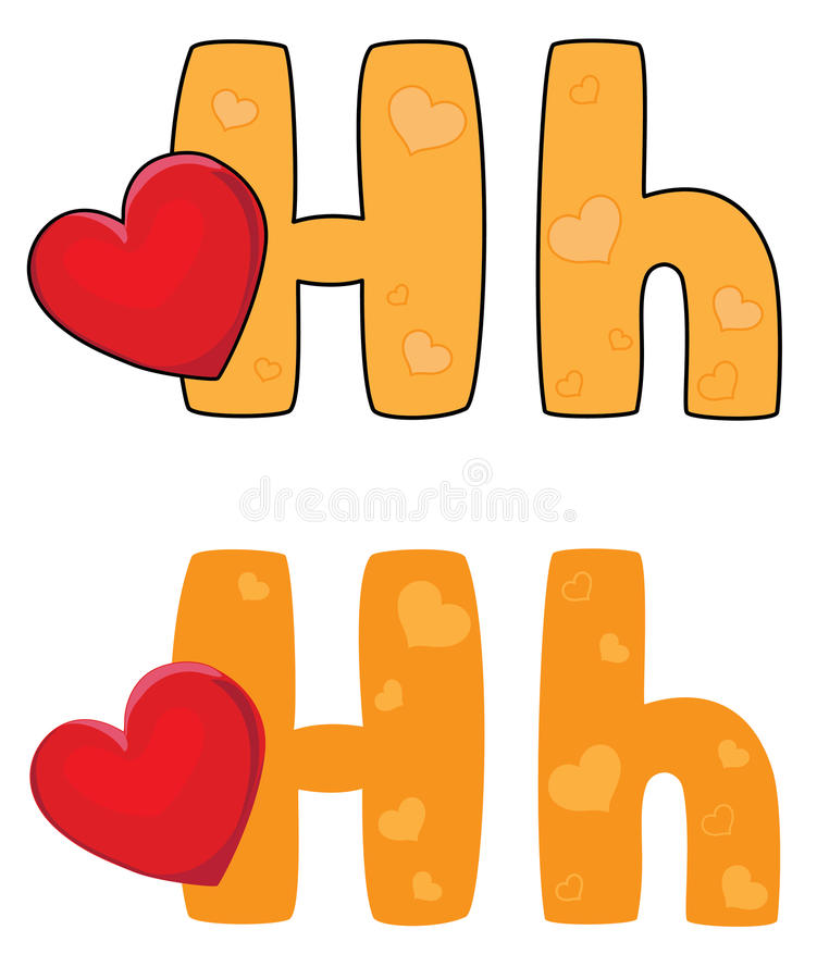 Download Letter H heart stock vector. Image of alphabet, text - 26162064