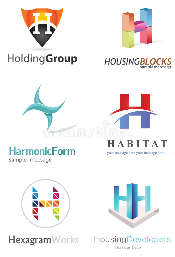 Letter H Logo. Alphabetical Logo Design Concepts. Letter H stock illustration
