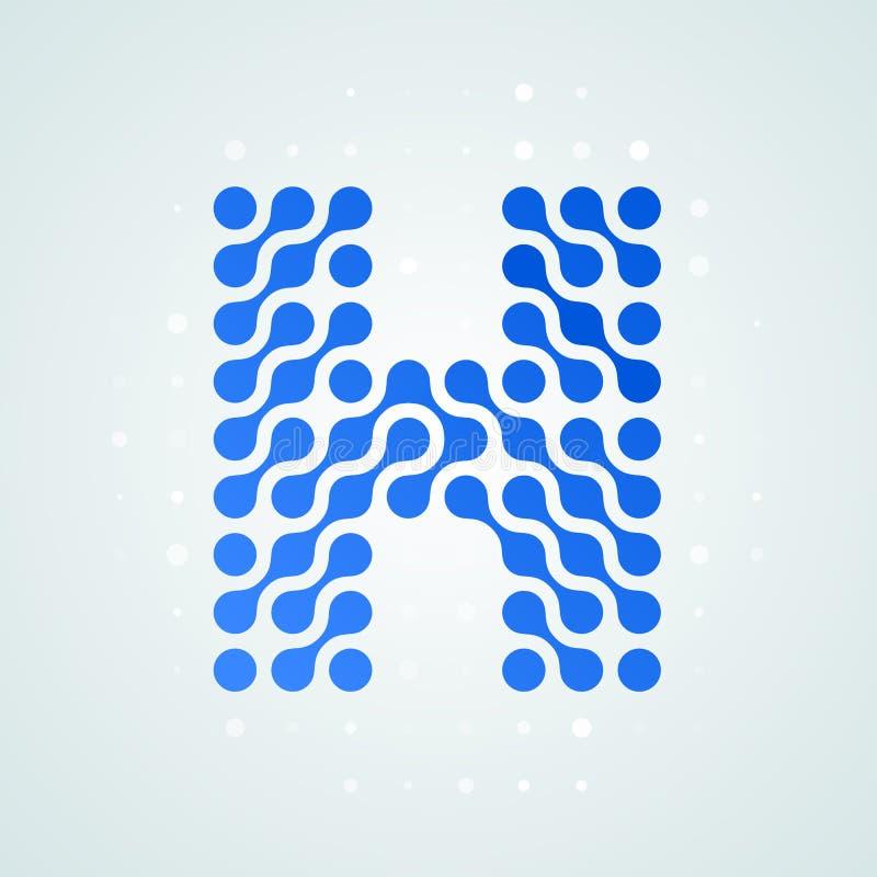 Letter H logo modern halftone icon. Vector flat letter H sign futuristic blue dot line liquid font trendy digital design. Letter H logo modern halftone icon vector illustration