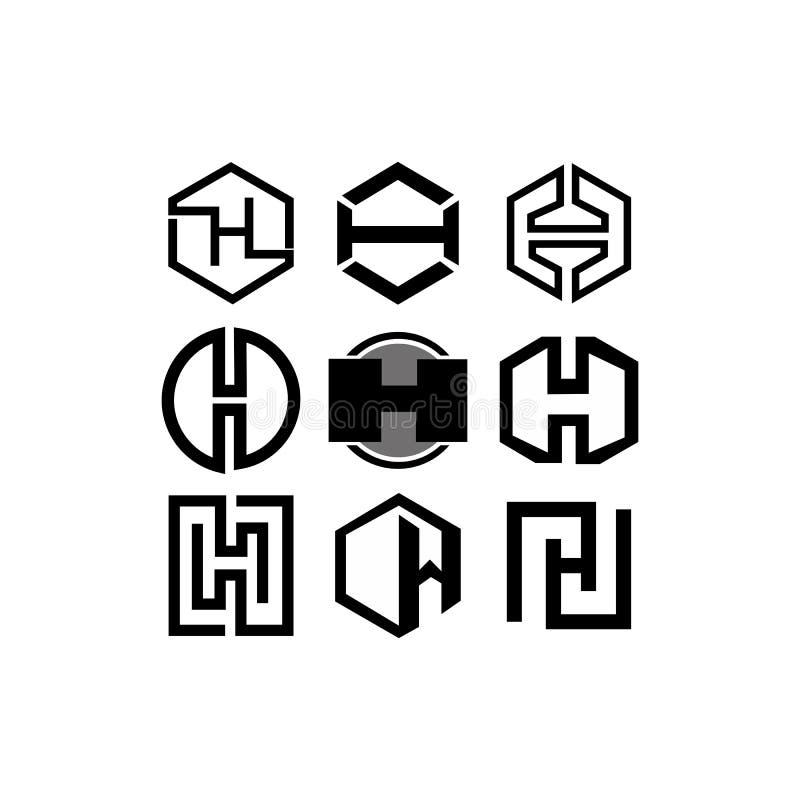 Letter H logo monogram style,business h. Letter H logo monogram style, mockup thin line shape design element, business card emblem template vector illustration