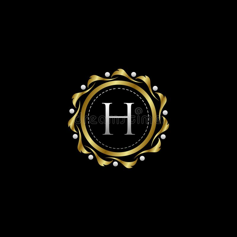 Letter H Luxury Boutique Circle Badge Template Logo. Vector, suitable with classy and vintage theme vector illustration