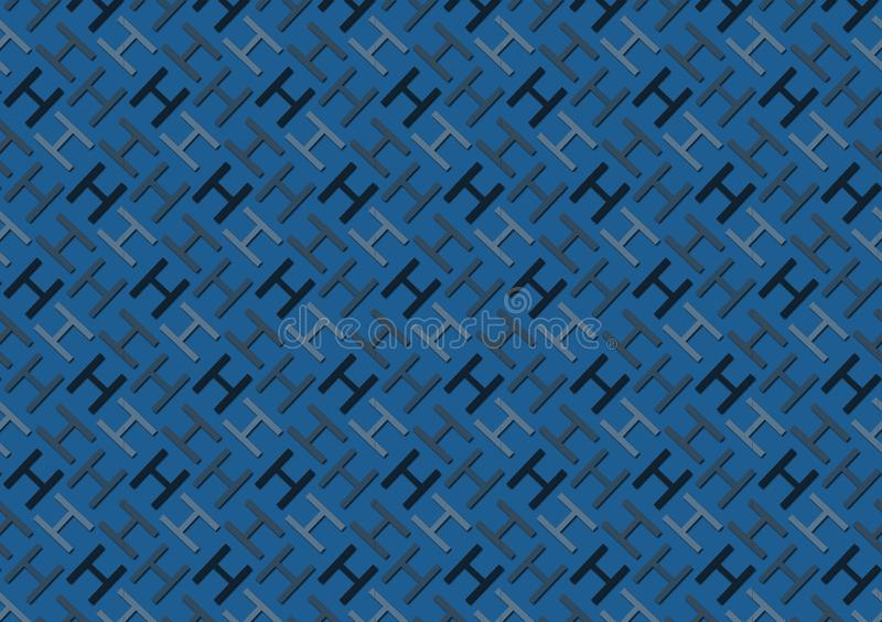 Letter H pattern in different colored blue shades for wallpaper. Background stock illustration