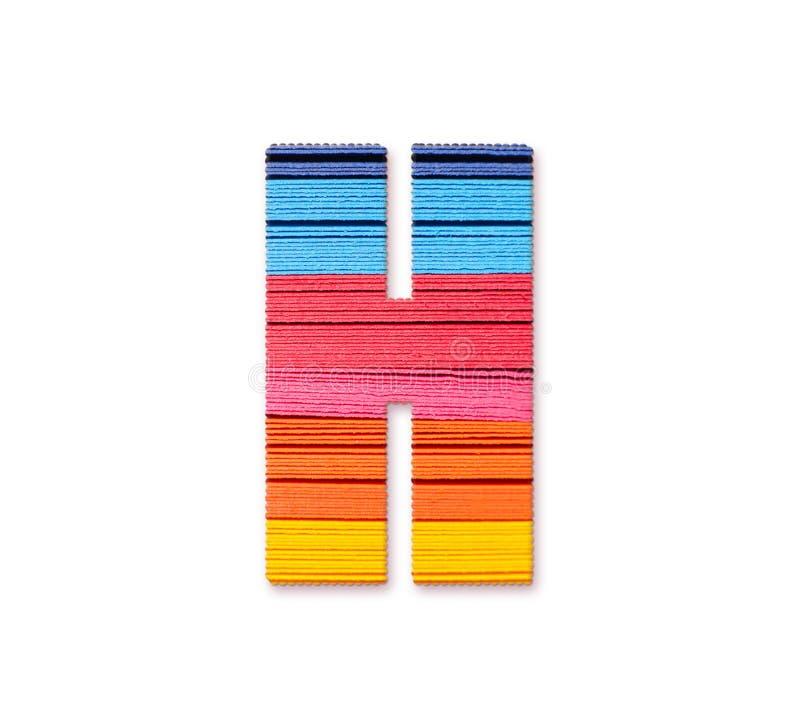 Letter H. Rainbow color paper. stock illustration