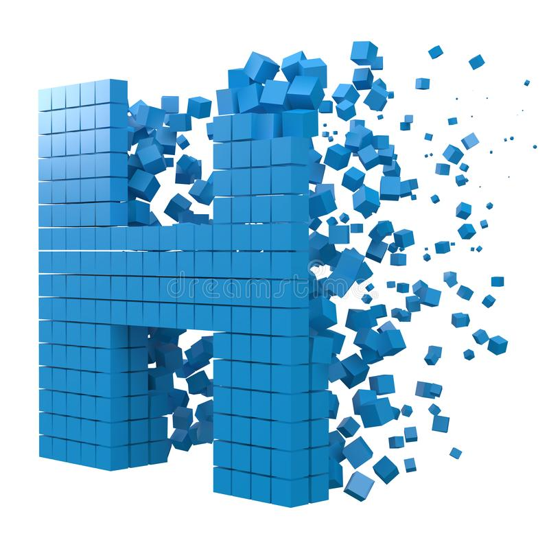 Letter H shaped data block. version with blue cubes. 3d pixel style vector illustration. Suitable for blockchain, technology, computer and abstract themes royalty free illustration