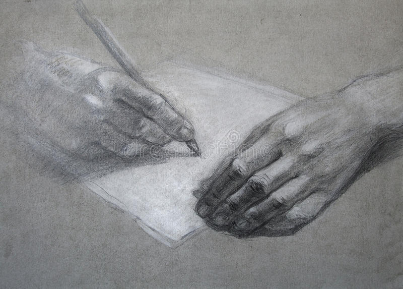 Letter. Hand draw stock image