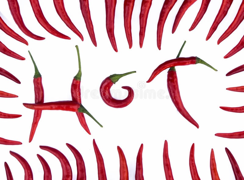 Letter Hot made from red chili peppers royalty free stock image