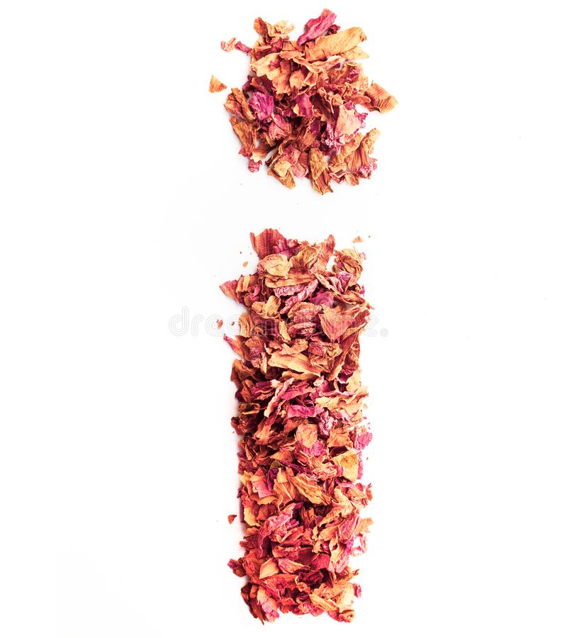 Letter I, made of rose petals, isolated on white background. Food typography, english alphabet. Design element.  royalty free stock image