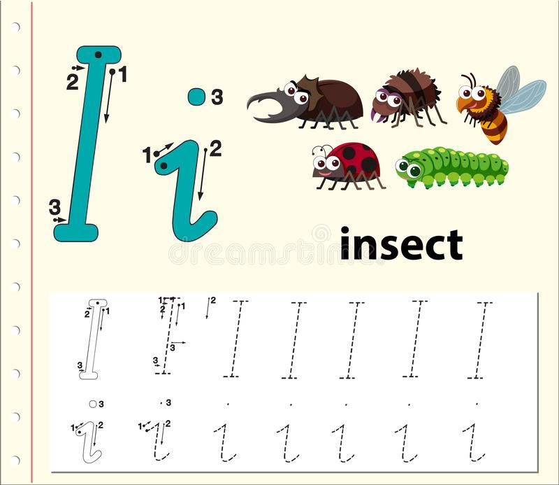 Letter I tracing alphabet worksheet vector illustration